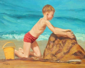 "Sand castles, Original oil painting,18"" x 24"", Boy on the beach, summer at the beach painting, sandcastle"