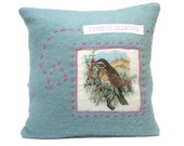 Wool pillow with embroidery, Redwing, Turdus iliacus, birds, 15.7x15.7 inch, cushion cover