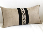 BURLAP lumbar accent pillow black jute and vintage velvet ribbon trim