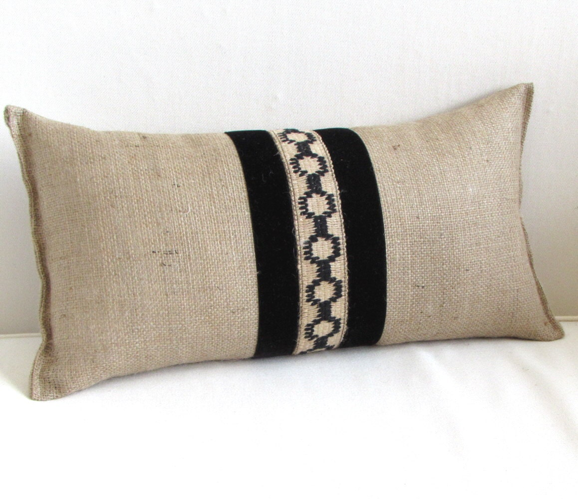 BURLAP lumbar accent pillow black jute and vintage velvet