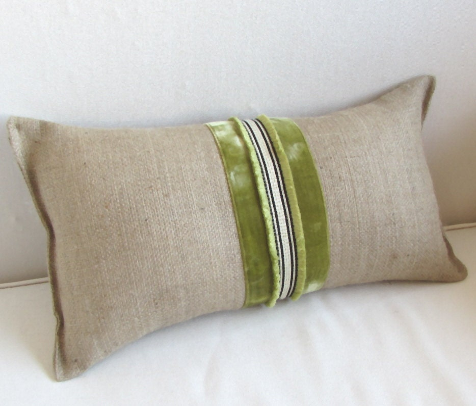 Throw Pillow Trim : BURLAP lumbar accent pillow vintage velvet ribbon trim