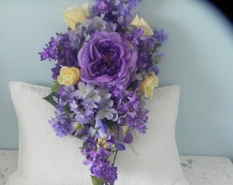 Silk Cascade bouquet, Bridal Flowers  Maid's Bouquet, 2 Boutonnieres  Purple, Yellow , Roses, Hydrangeas 4 Pieces  BB#23