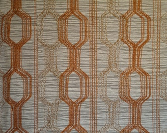 """Vintage Mid Century Fabric Material Woven Texture Abstract Pattern Rust Light Brown Taupe Oatmeal  70"""" x 79"""" Cotton Polyester Blend"""