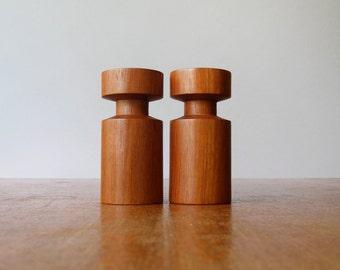 Pair Vintage Danish Modern Teak Wood Candle Holders