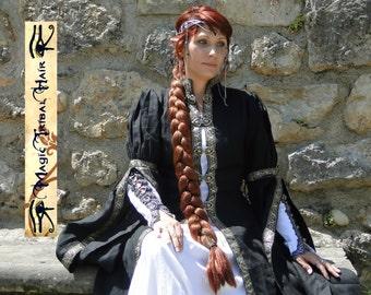 BRAID RENAISSANCE EXTENSION Medieval wedding hair piece 90 cm/ 36'' Gothic braid Renfaire Cosplay costume plait Fantasy Larp Elf hair piece
