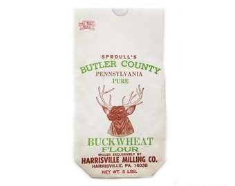 Vintage Flour Sack Sproull's Flour Mill Buckwheat Flour Bag Harrisville Milling Co Buck Deer 5 lb Paper Sack Sproul Butler County PA Unused
