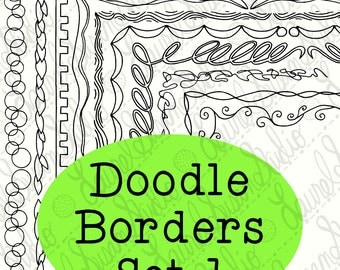 Doodle Borders Clip Art Bundle 1 PNG JPG Blackline Commercial Personal Bubbles Leaves Springs Squiggles