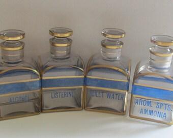 Men's Vanity Set Four Assorted Bottles - Vintage