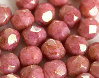 Pink Coral Luster Fire Polish Light Picasso Round Faceted Czech Glass 6mm Beads - 25 Pieces (F026)