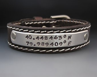 Men's Personalized Leather Cuff - Custom Bracelet - Hand Stamped - Buckle Clasp