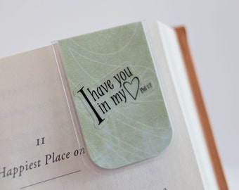 Magnetic Bookmark, Laminated Magnetic Bookmark, Bible Religious Inspirational Bookmark, Green Love