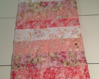 Handmade Pink and White, Shabby Chic,Victorian Style, Patchwork Quilted Table Runner ,16 x 45 inches ,