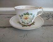Tea Cup Porcelain Teacup Regency Genuine Bone China Teacup and Saucer Yellow Rose Housewarming Gift Tea Service Floral Tea Cup