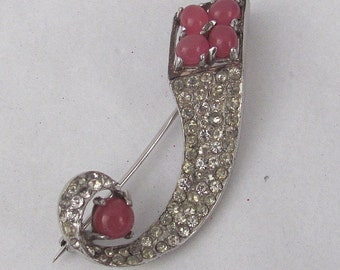Vintage REJA STERLING Brooch - Pave Rhinestones and Prong Set Rose Pink Cabochons - 1940s