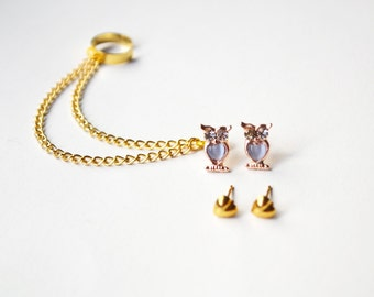 Blue Owl and Hearts Gold Chain Ear Cuff Earrings Set