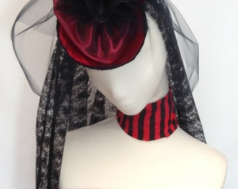 Victorian burlesque rouge red headpiece