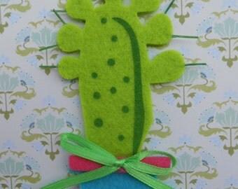 SALE 50% OFF Cactus Felt Applique 4 pcs