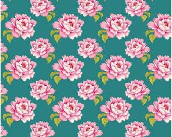 Tilda Cotton Fabric Peony Teal Sewingbird Collection 1 Yard