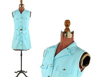 Vintage 1960's Sky Blue Rayon Linen Mod Button Up Safari Mini Shift Pocket Dress S