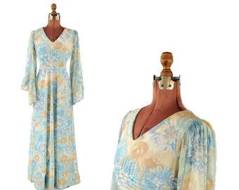 Vintage 1970's Pastel Watercolor Floral Sheer Nylon Chiffon Bell Ruffled Fan Sleeve Hippie Festival Dress S