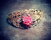 Valentines Rose Cameo Filigree Cuff Bracelet - Ornate and Unique Vintage Inspired Bracelet - Fully Adjustable