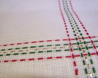 """28 Count White Linen with Green, Red & Gold Plaid Yardage for Cross Stitch 44"""" x 54"""""""