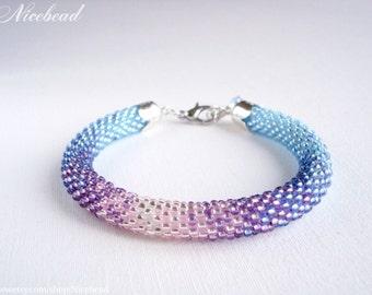 Blue pink bracelet, summer bracelet, beaded bracelet, rope bracelet, bead rope bracelet, gift for girl woman, summer jewelry, blue jewelry