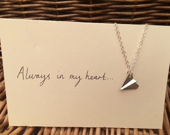 One Direction 1D inspired paper aeroplane pendant necklace Larry Stylinson fandom Always In My Heart (Harry Styles and Louis Tomlinson) AIMH