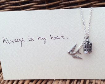 One Direction 1D inspired birdcage pendant necklace Larry Stylinson fandom Always In My Heart (Harry Styles and Louis Tomlinson)