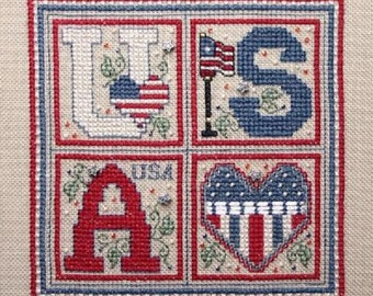 Sweetheart Tree USA Square Counted Cross Stitch Kit