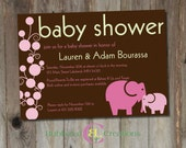 Baby Shower Invitation. Personalized Baby Shower Invite. Baby Girl. Girl Shower Invite. Elephant Baby Shower. Custom Baby Shower Invitation