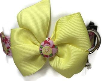 Yellow and Pink Vintage Rose Dog Collar size Medium