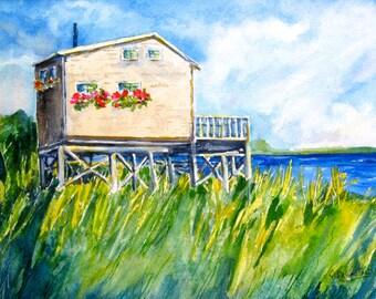 Falmouth Beach Cottage Original Watercolor Painting  Cape Cod , Ma.   Carlie DeGaetano