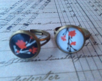 Jewelry Rings Womens Cherry Blossoms 3D Resin Rings