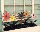 Window Box Flowers, Windowbox flowers, Metal Flower, yard decor, garden decor, Small Metal Painted Flowers For Window Boxes