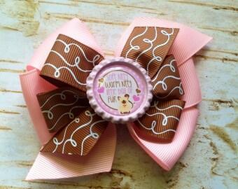 Soft Kitty Big bang Theory double pinwheel bottlecap hair bow