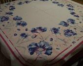 Retro Flowered Tablecloth 1950s Blue Iris White Cotton Old Kitchen