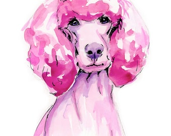 Pink Poodle Watercolor Print