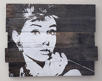 Audrey Hepburn Stencil on Reclaimed Wood