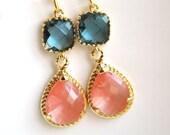 Gold Coral Earrings, Navy Blue Earrings, Peach, Bridesmaid Jewelry, Wedding Jewelry, Bridesmaid Earrings, Bridal Jewelry, Bridesmaid Gifts