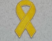 Yellow Awareness Ribbon - MADE to ORDER - Choose SIZE - Tutu & Shirt Supplies - fabric Iron on Applique Patch 7011