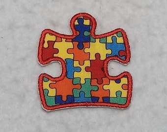 Autism Awareness Puzzle Piece MADE to ORDER - Choose COLOR and Size - Tutu & Shirt Supplies - Fabric Iron on Applique Patch p 6151