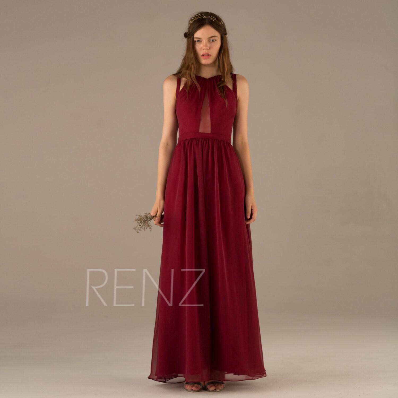 2017 Wine Bridesmaid Dress Dark Red Prom Dress Chiffon