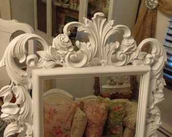 Large Vintage Syroco mirror, French baroque Baby girl, decorative, baby nursery