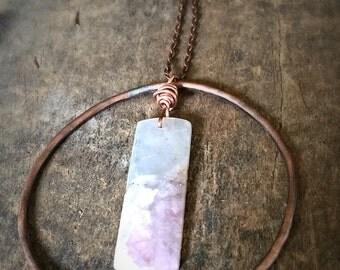 Long Copper Natural Gemstone Orb Necklace, Unique Copper Statement Necklace, Women's Copper Rustic Necklace Summer Jewelry, Copper Necklace