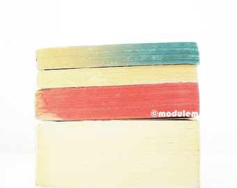 Minimalist Wall Art - Un après-midi à Paris - Fine Art print of vintage books, Rothko inspired, blue, red, minimal, ivory white, 8x8, 8x10