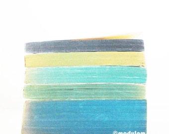 Photo - Un après-midi à Brighton, print of vintage books, Rothko inspired, bohemian palette, faded, minimalist, green, blue, teal, 8x8, 8x10