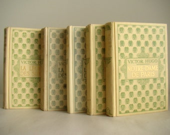 Lovely romantic french decor, neutral summer shades, beach, Victor Hugo collection, 1900s, pale yellow french books, spring books
