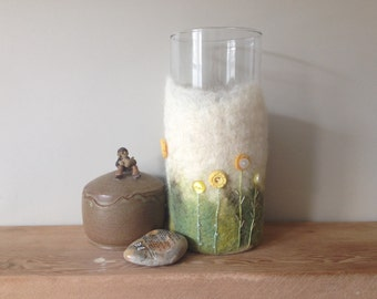 Felted vase cover with stitched and button detail, felted vessel