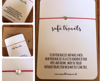 Safe travels personalised...Wish String Bracelet...